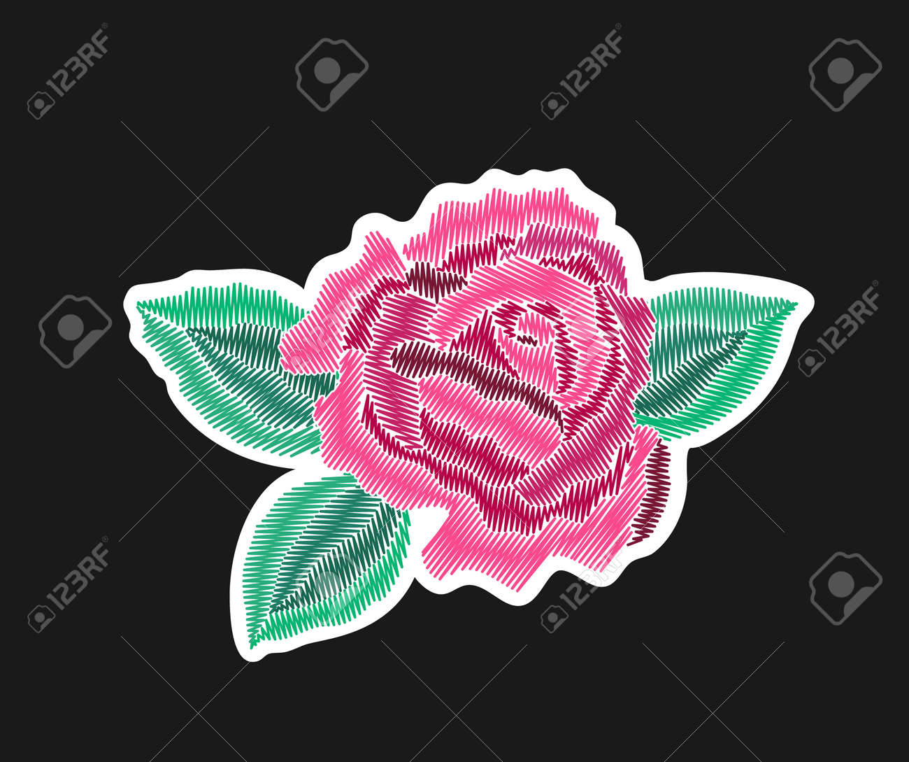 Pink Rose Flower With Leaves Embroidered Patch Design Needlework