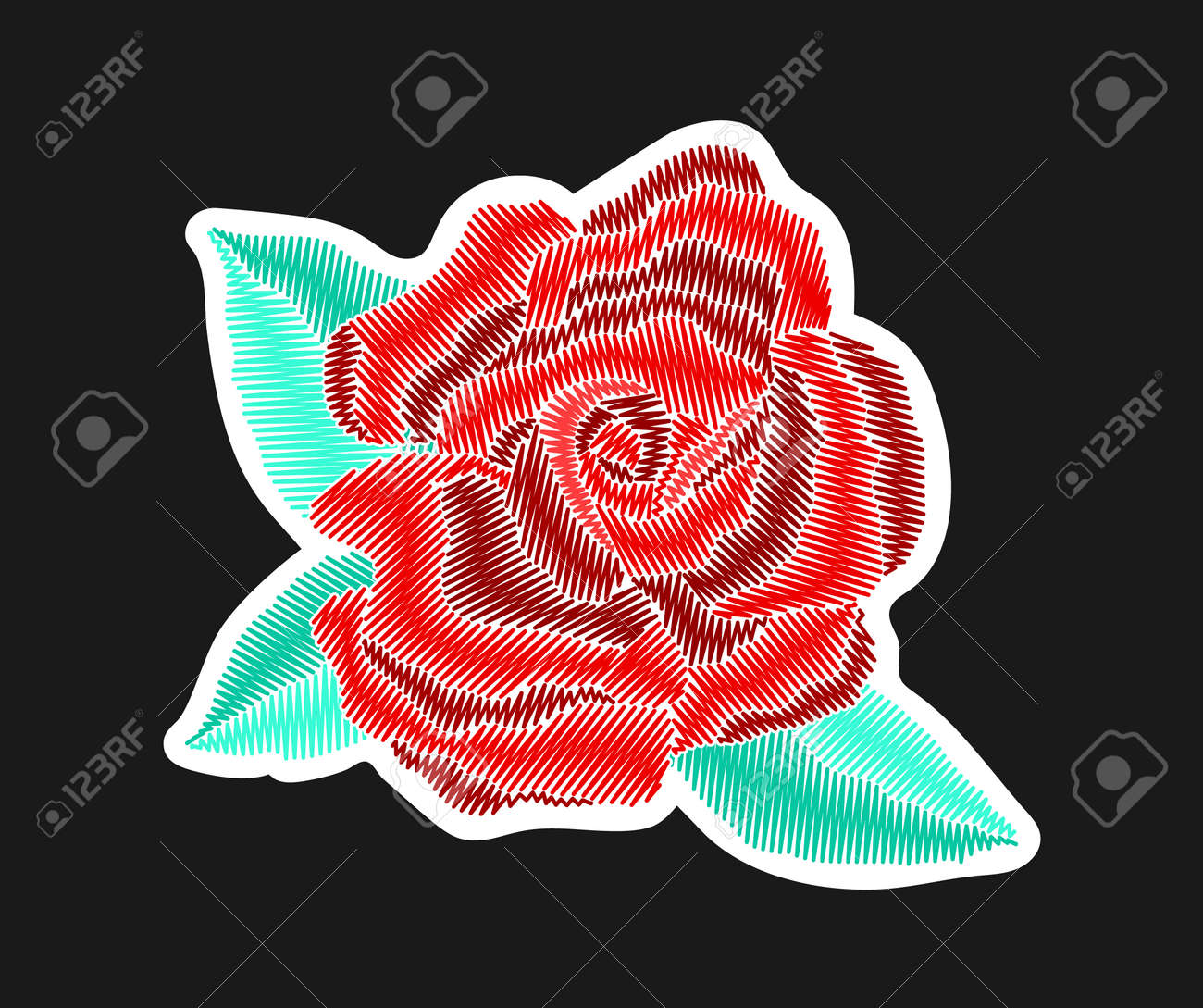 Red Rose Flower With Leaves Embroidered Patch Design Needlework