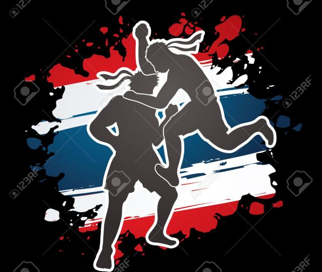Muay Thai Thai Boxing Action Designed On Grunge Thailand Flag Background Graphic Vector Stock