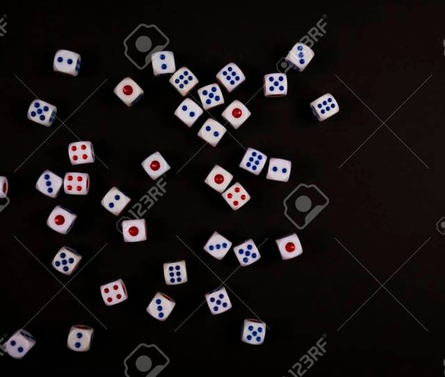 Stock Photo The White Dice Random Fall On Black Paper Background Concept For Business Risk Chance Good Luck Or Gambling