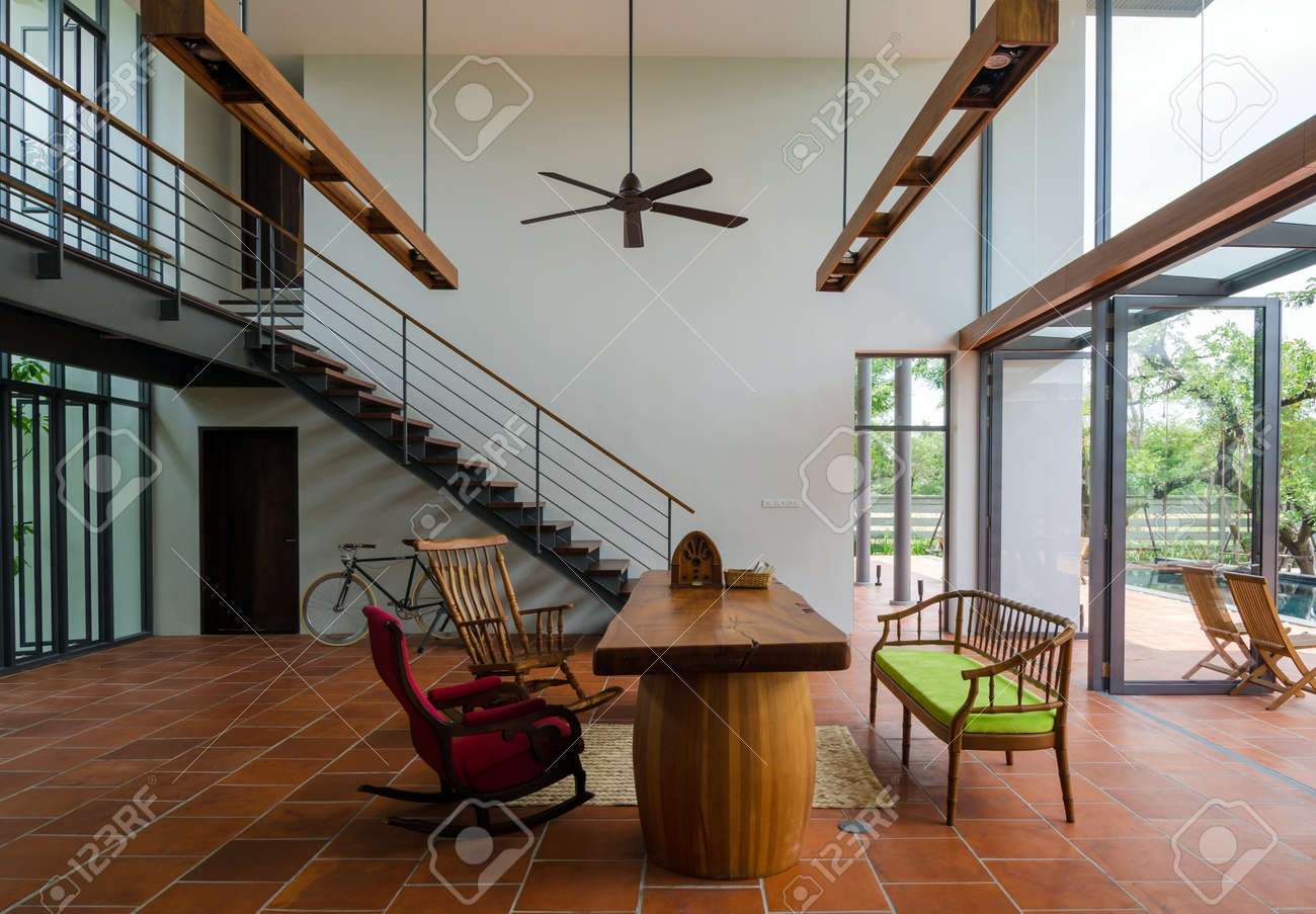 Stylish House Interior Living Room With Staircase Stock Photo | Staircase Inside Living Room | Kitchen Stair | Apartment | Inside Lounge | Staircase Tv | Private Home