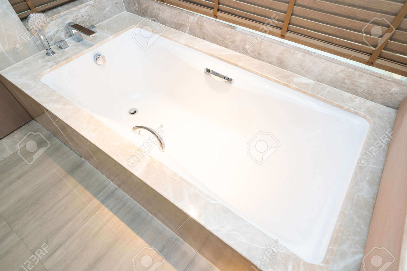 beautiful luxury bathtub and faucet water tap decoration interior