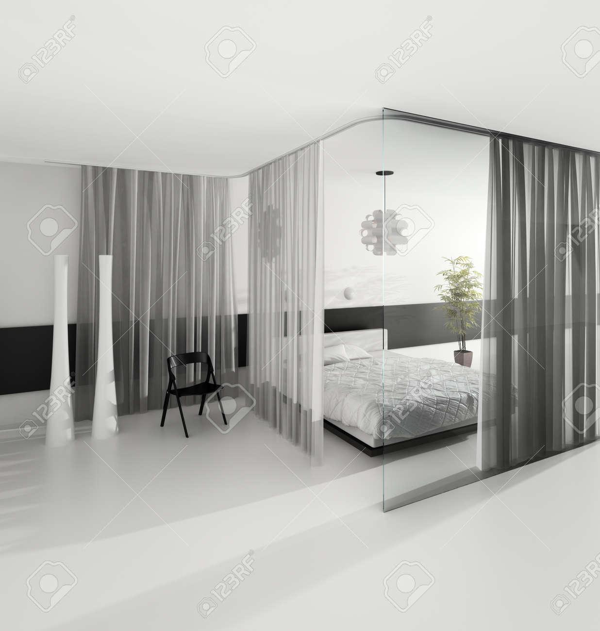 design d interieur chambre moderne de couleur grise