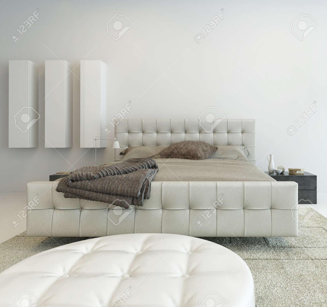 interieur de chambre a coucher blanc lumineux avec de beaux meubles