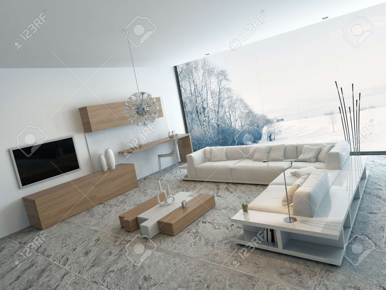 modern bright wooden style living room interior