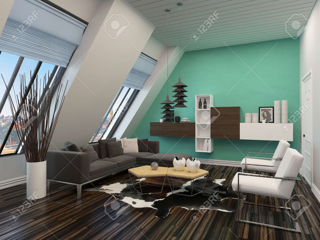 Modern Living Room Interior With Sloping Windows And Ceiling