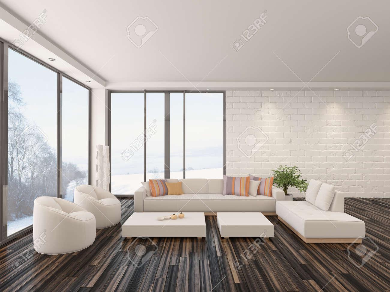 moderne minimaliste salon interieur avec un sol nu en parquet suite contemporaine de salon rembourres et de grandes fenetres avec vue sur le jardin