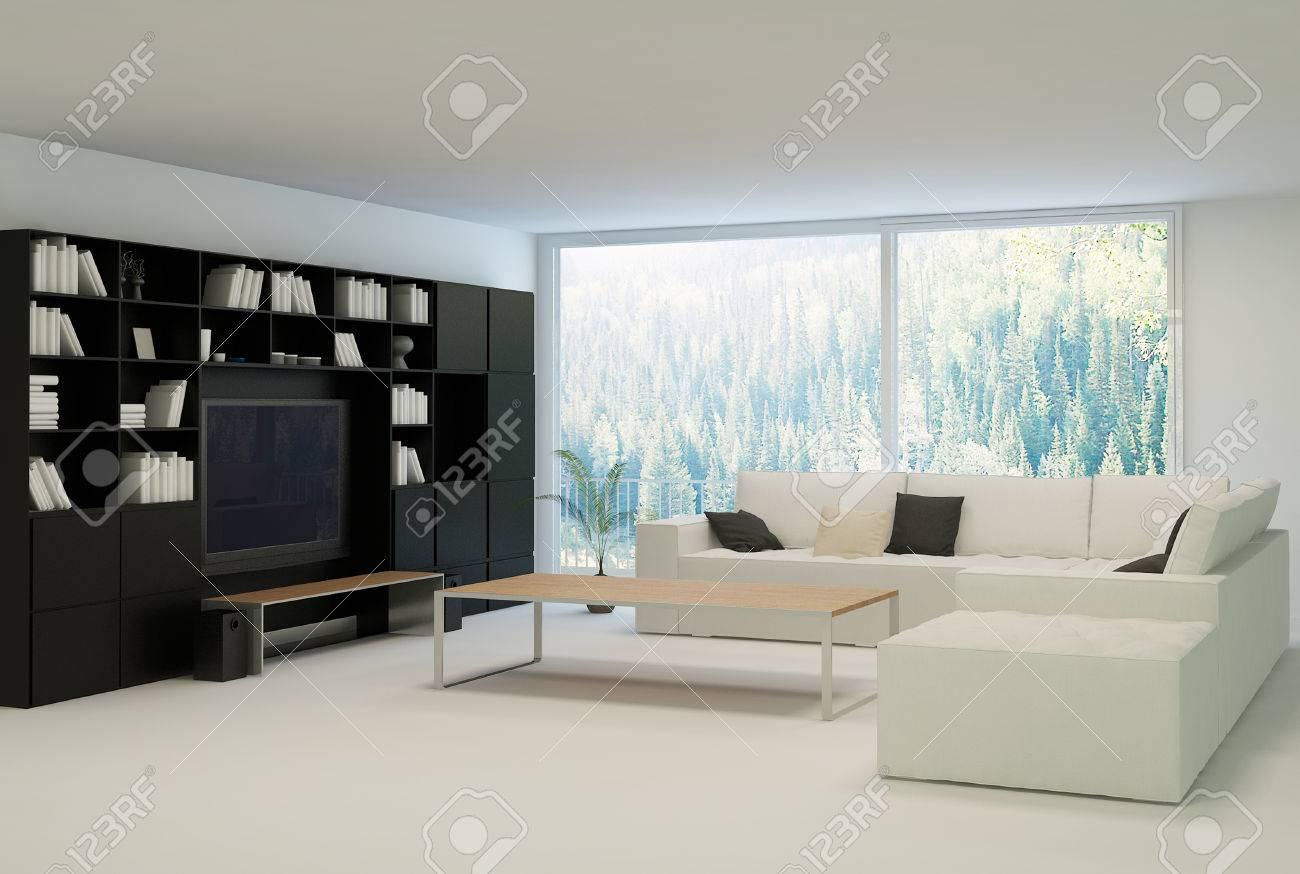 salon moderne avec un canape beige et meuble noir