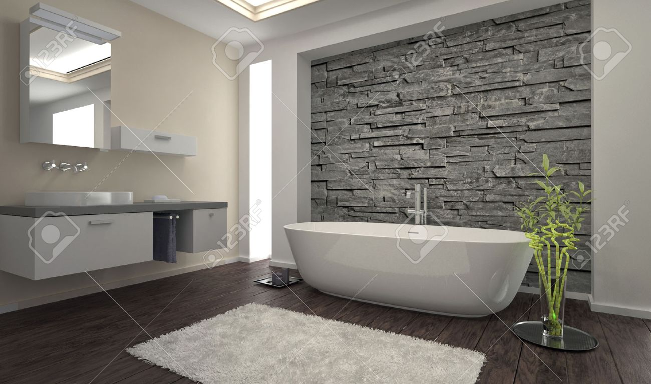 interieur de salle de bains moderne avec mur de pierre