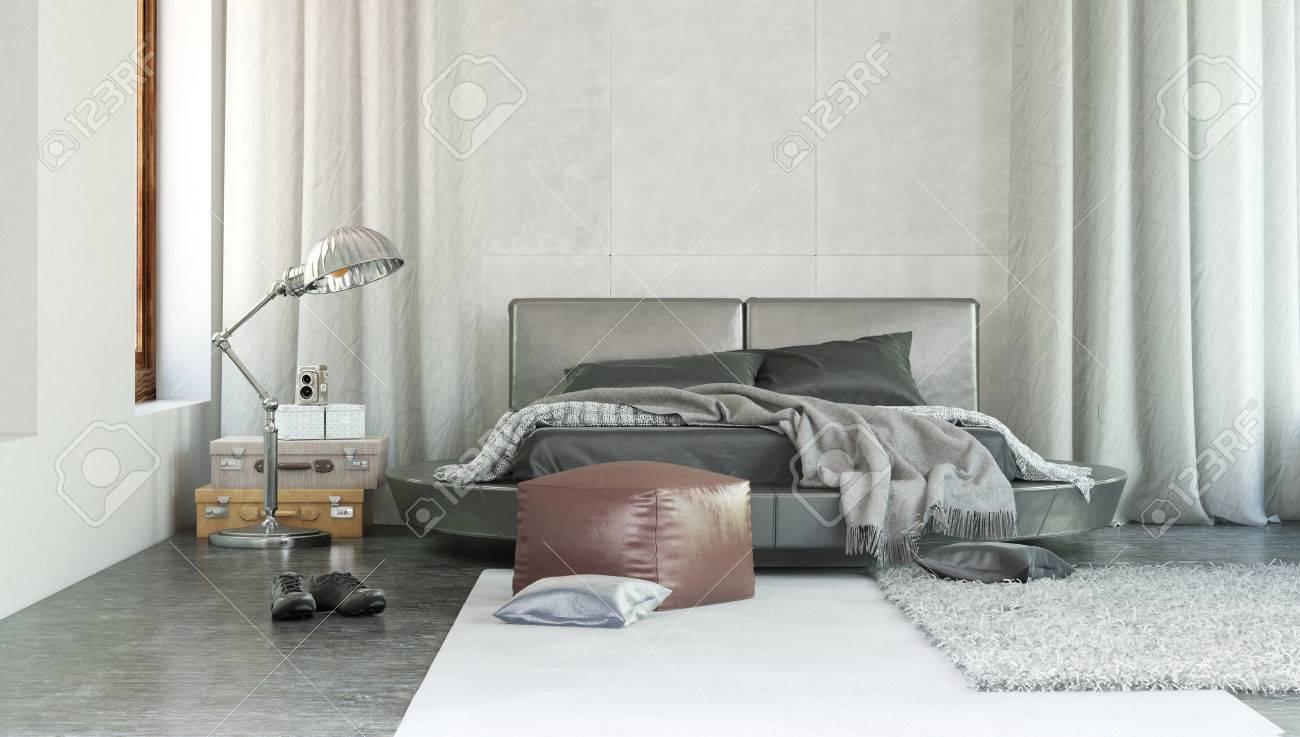 https fr 123rf com photo 38112690 int c3 a9rieur de la chambre moderne et c3 a9l c3 a9gant avec un d c3 a9cor gris et tapis jet c3 a9 sur un lit double avec des ridea html