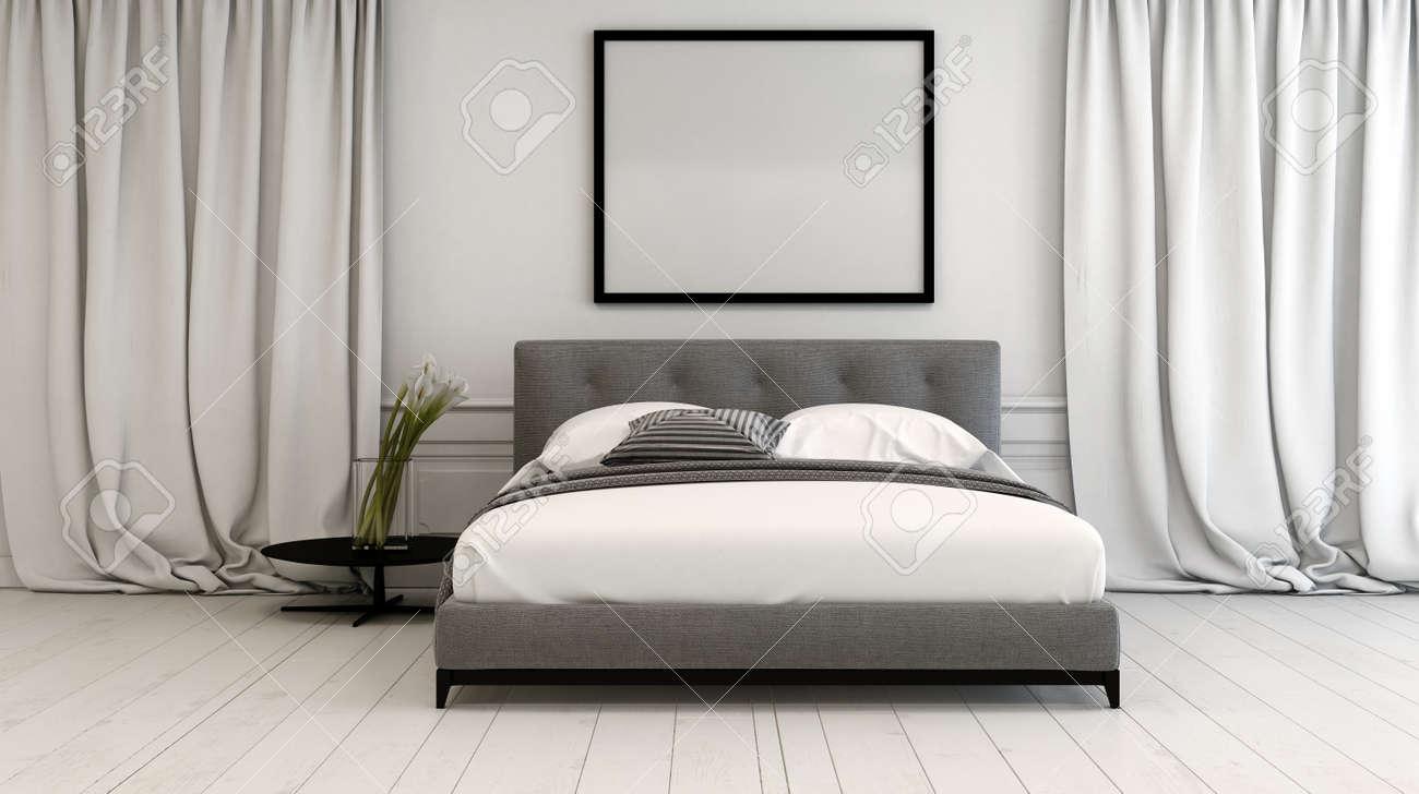 interieur moderne de chambre dans des tons neutres avec un lit de style divan doubler entre longueur a long plancher drape sur un blanc parquet peint
