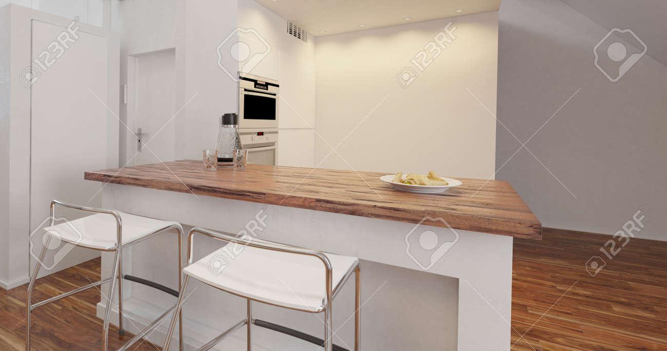 petite kitchenette compact et elegant dans un appartement ou une maison avec ilot central avec tabourets et appareils integres rendu 3d