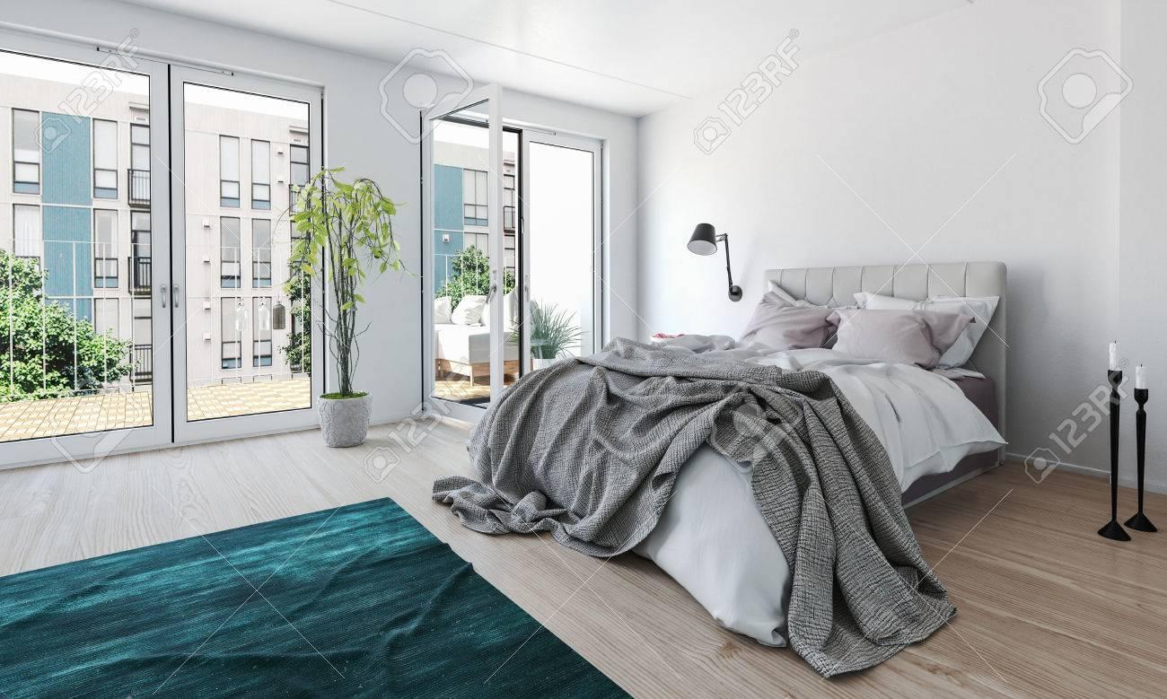 chambre moderne et lumineuse dans un appartement de grande hauteur avec un lit ebouriffes et se defont de grandes portes vitrees donnant sur un patio exterieur laissant passer beaucoup de lumiere 3d