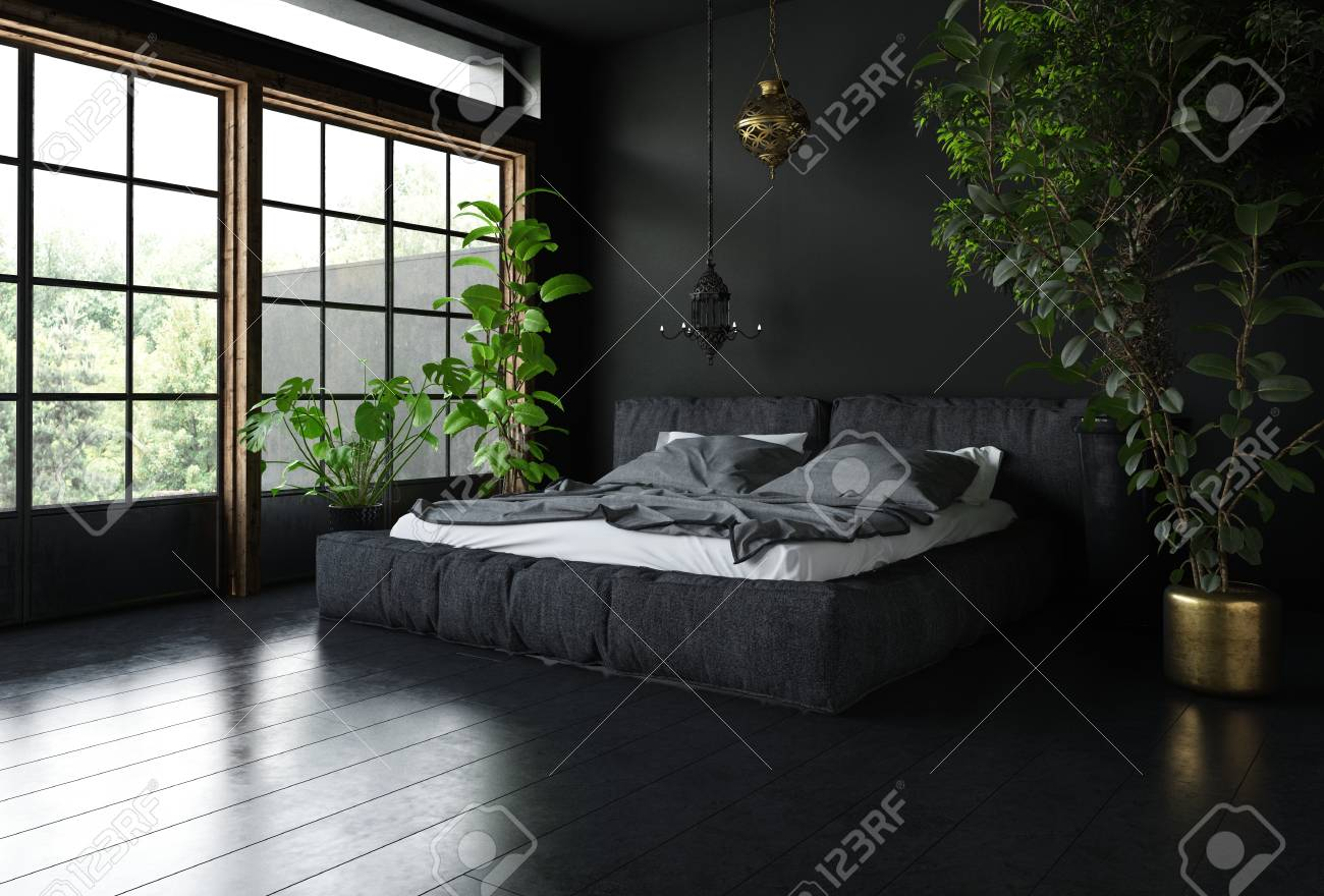 Bedroom In Black Style With Dark Interior Design Huge Wide Windows Stock Photo Picture And Royalty Free Image Image 81175382
