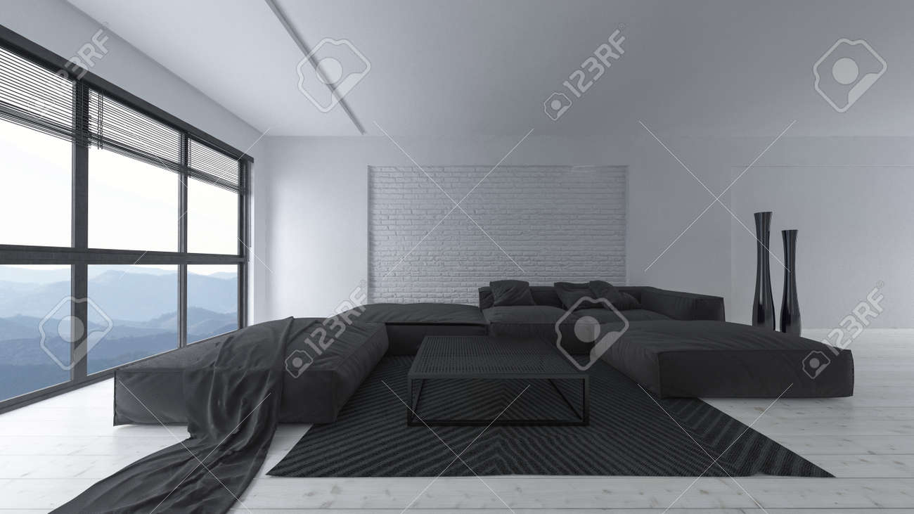 modern white and black designer living room interior with large stock photo picture and royalty free image image 97792542
