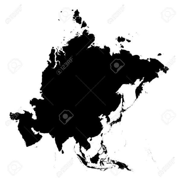Detailed Asia Continent Map  Black And White  Mercator Projection     detailed Asia continent map  black and white  mercator projection  Stock  Photo   2079608