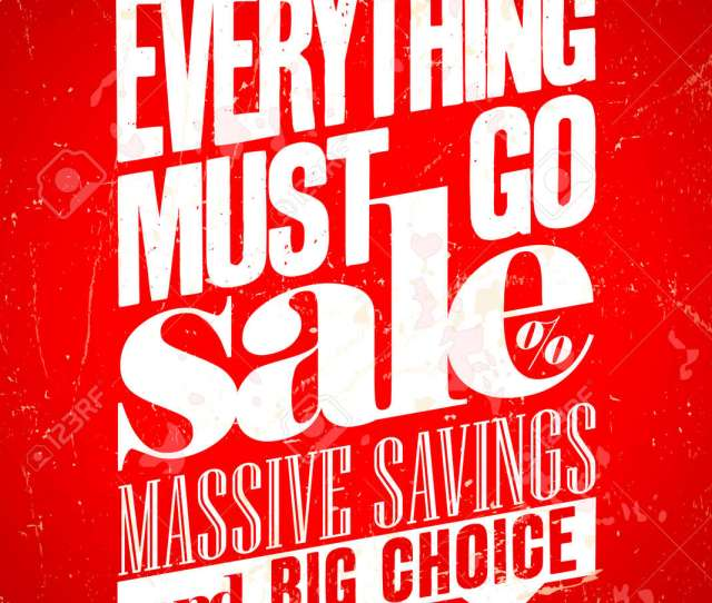 Everything Must Go Sale Massive Savings Retro Poster Eps10 Stock Vector 34278434