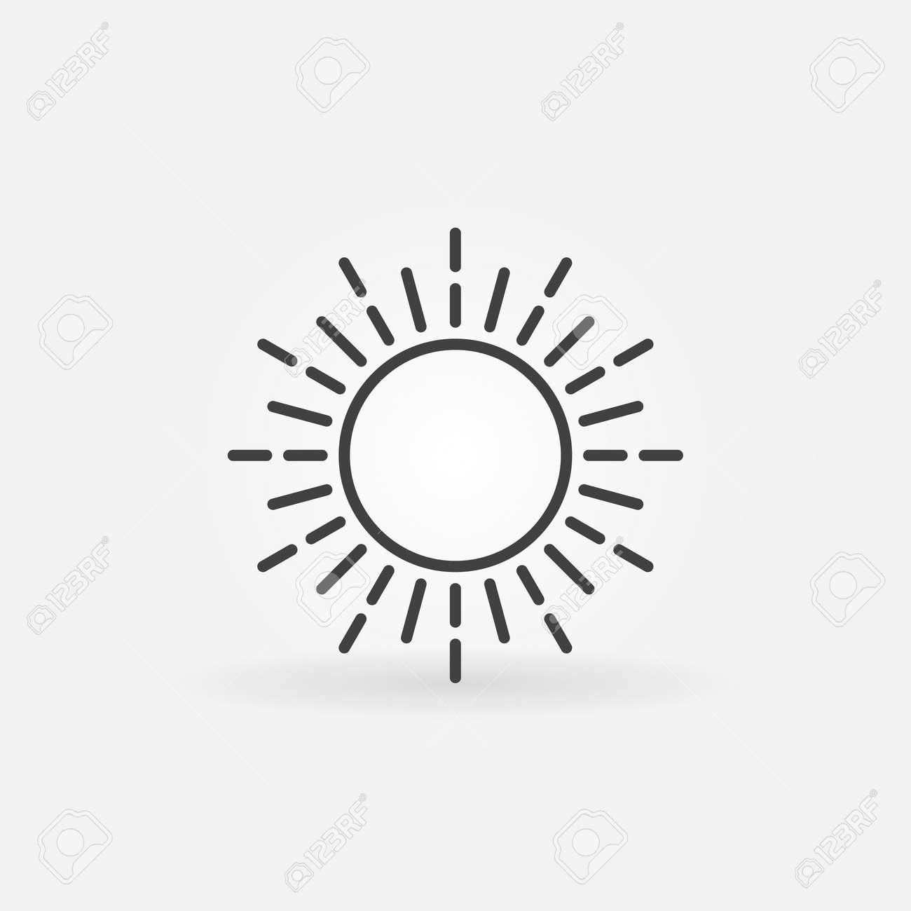 linear sun logo simple vector dark thin isolated icon or sign