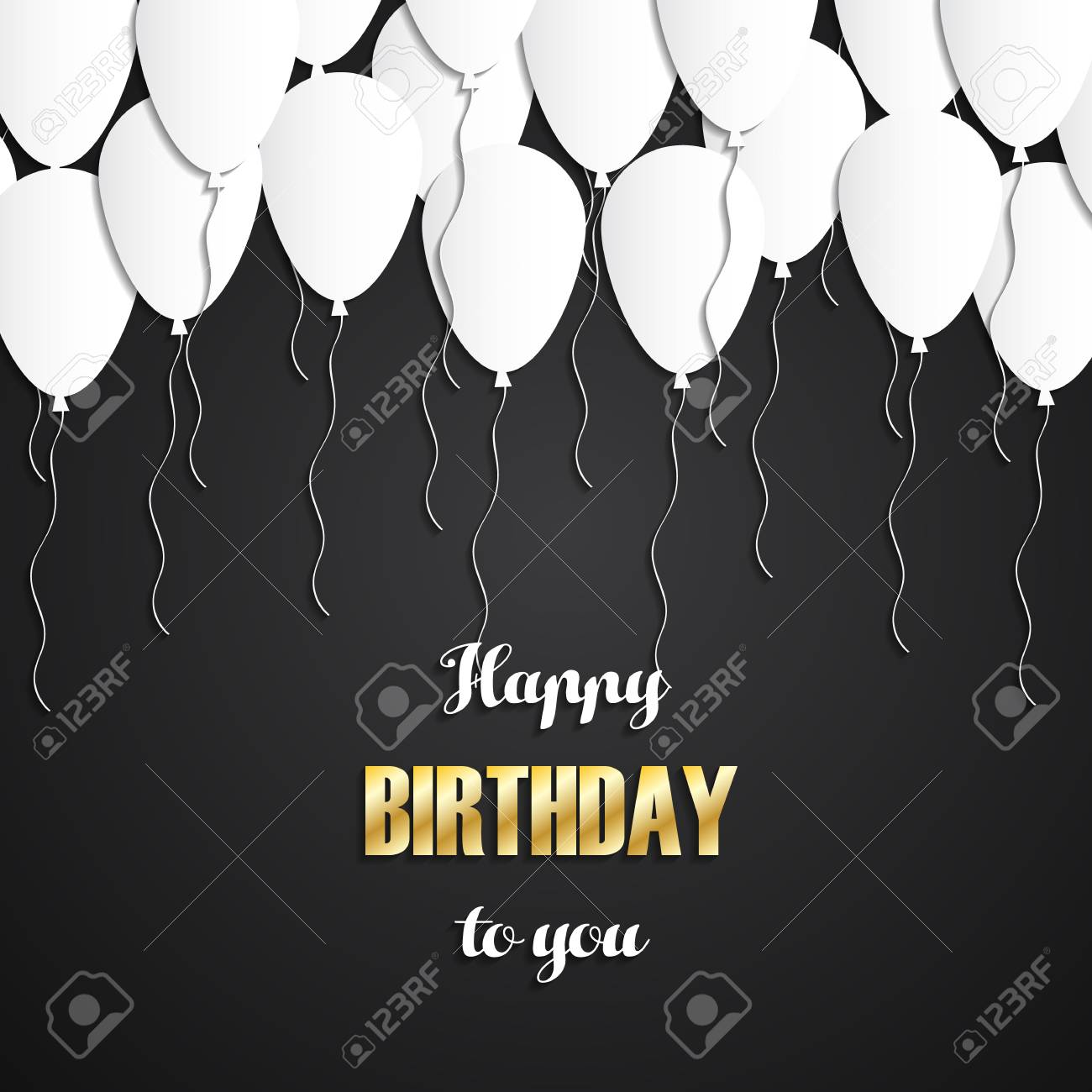 Happy Birthday Greeting Card With White Balloons And Gold Letters Royalty Free Cliparts Vectors And Stock Illustration Image 69605074