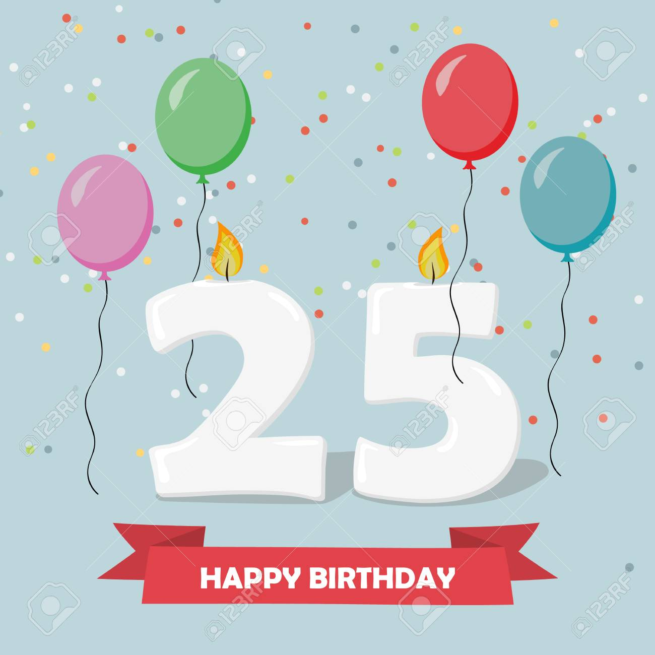 25 Years Celebration Happy Birthday Greeting Card With Candels Royalty Free Cliparts Vectors And Stock Illustration Image 93982446