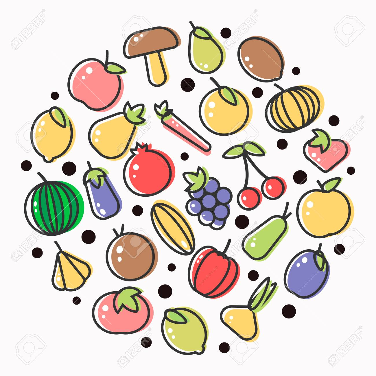 fruits and vegetables poster of flat outline veggie and berry