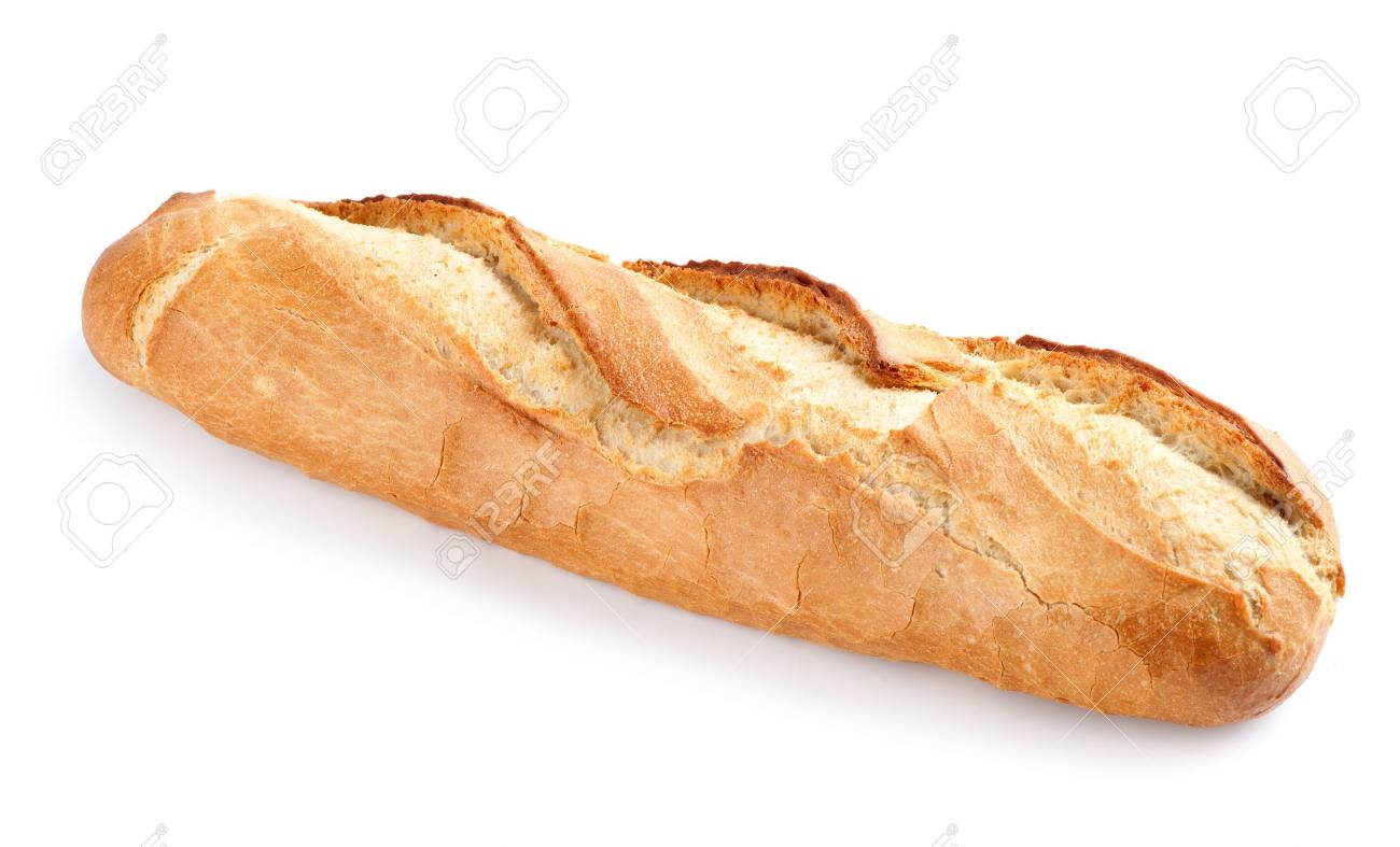 baguette de pain francais isole sur fond blanc