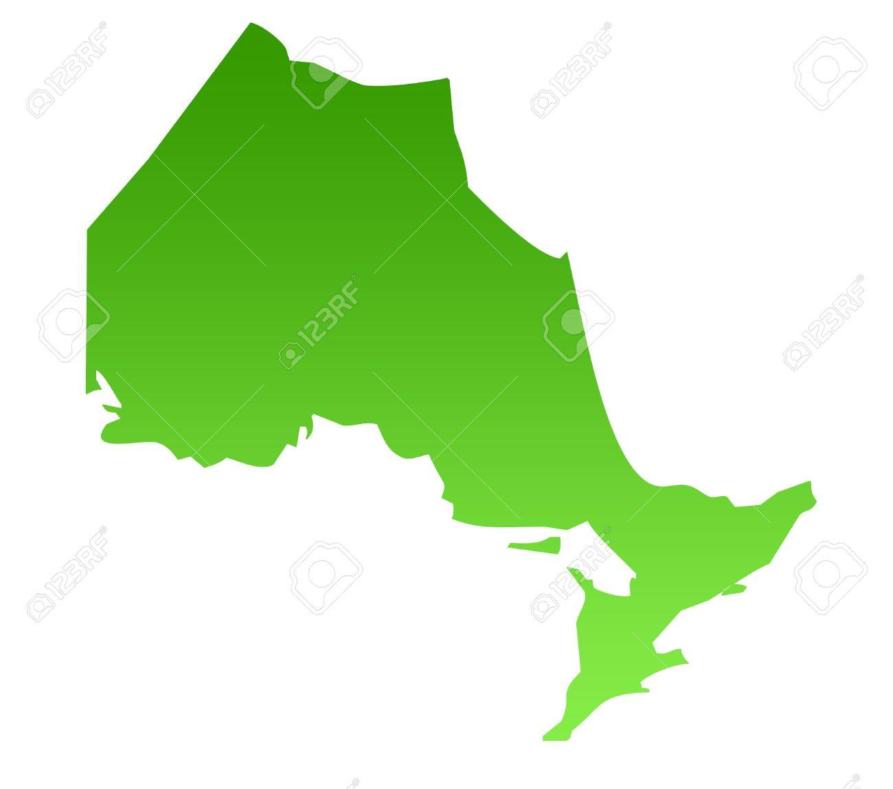 Map Of Canadian Province Of Ontario In Green  Isolated On White     Map of Canadian province of Ontario in green  isolated on white background   Stock Photo