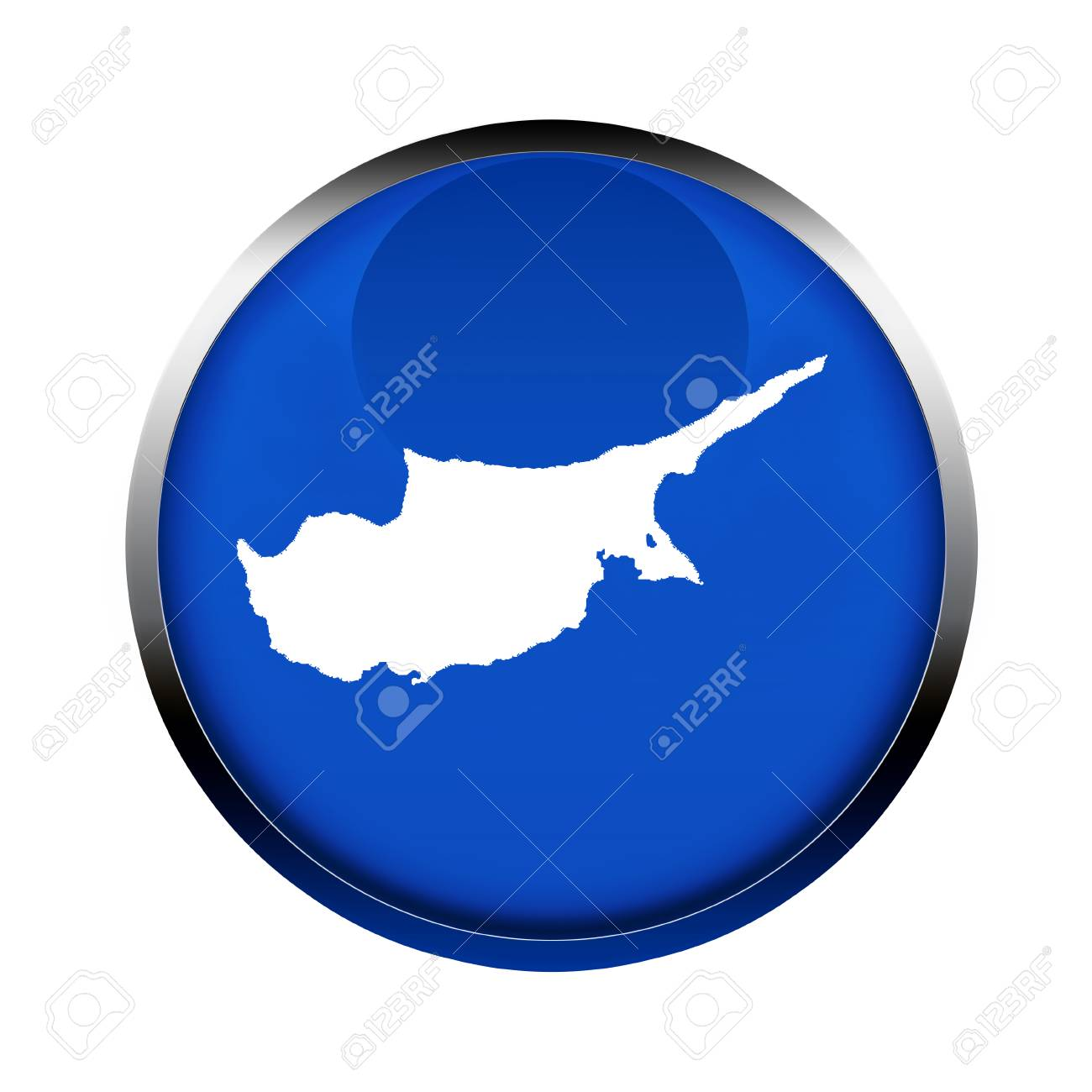 Cyprus Map Button In The Colors Of The European Union  Stock Photo     Cyprus map button in the colors of the European Union  Stock Photo    61030523