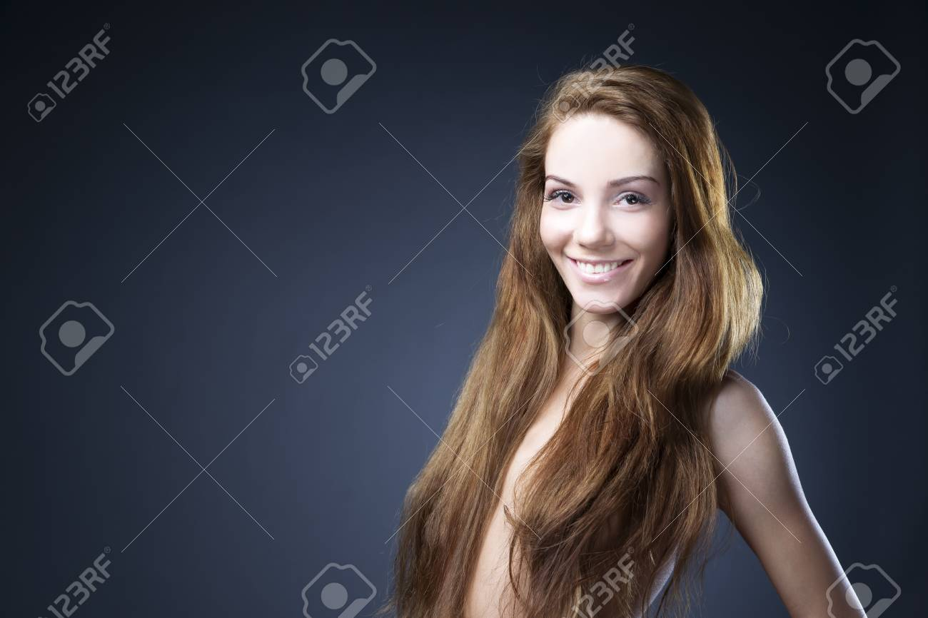Stock Photo Young Naked Girl In Studio Hairstyle And Makeup Beautiful Woman