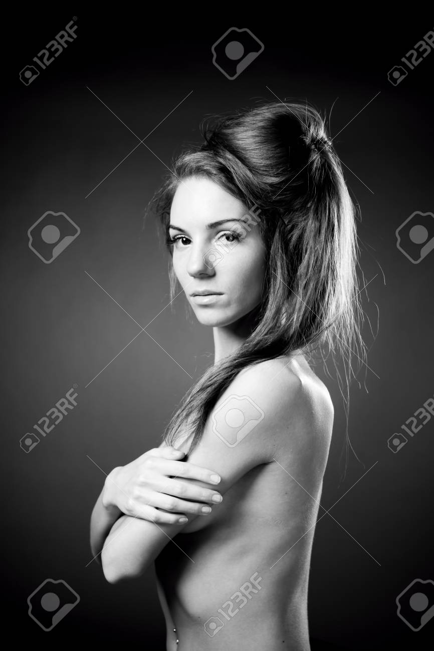 Stock Photo Young Naked Girl In Studio Hairstyle Beautiful Woman Black And White Photography