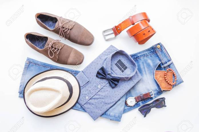 Men's Casual Outfits With Jeans Clothing And Accessories On White.. Stock  Photo, Picture And Royalty Free Image. Image 87956383.