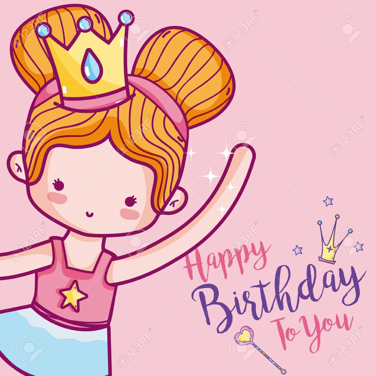 Happy Birthday Card Cute Girl Ballet Dancer Cartoon Vector Illustration Royalty Free Cliparts Vectors And Stock Illustration Image 98515051