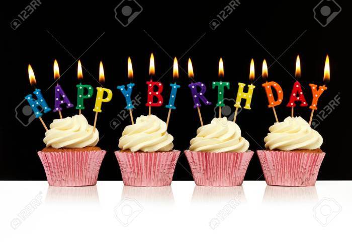 Cupcakes With Happy Birthday Candles Stock Photo Picture And