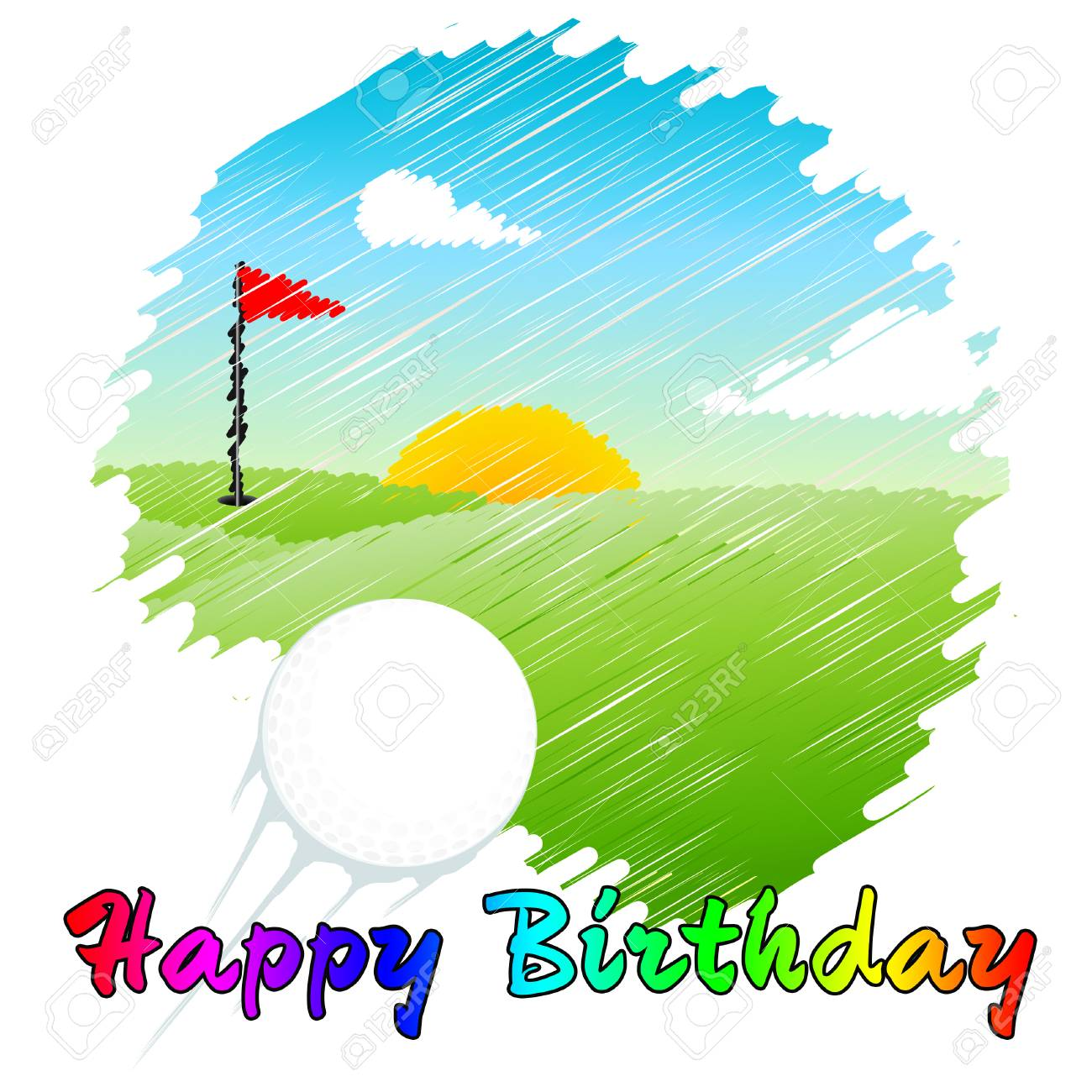 Happy Birthday Golfer Message As Surprise Greeting For Golf Player Stock Photo Picture And Royalty Free Image Image 116117056