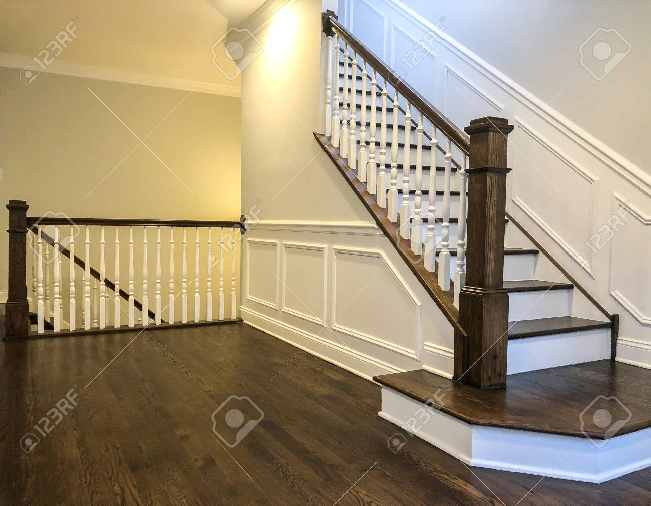Stairs Of The Luxury House With White Walls Wood Panels In White   White And Dark Wood Stairs   Medium Dark   Foyer   Stair Railing   Indoor   Traditional