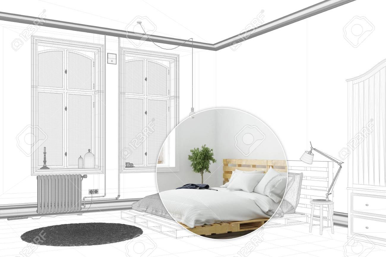 Chambre A Coucher Avec Lit De Palette Comme Modele De Dessin Et Rendu 3d Banque D Images Et Photos Libres De Droits Image 88315347
