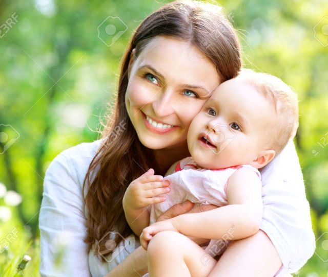 Beautiful Mother And Baby Outdoors Nature Stock Photo 19857513