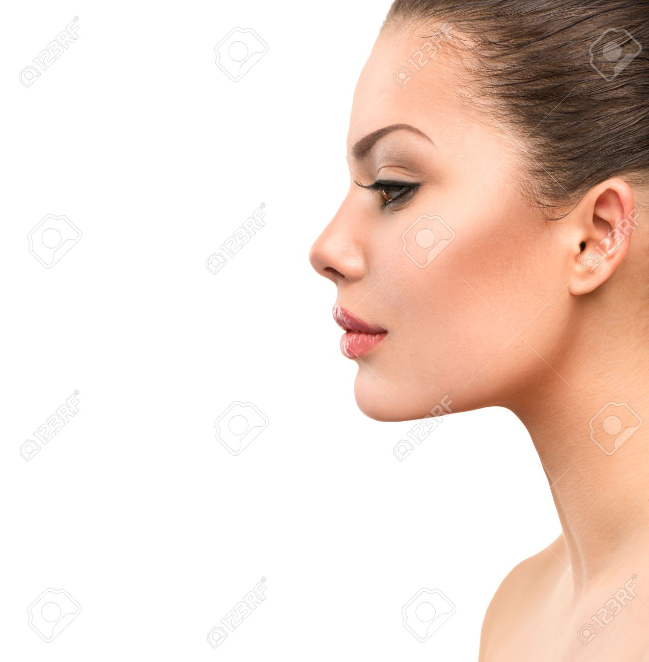 Beautiful Profile Face Of Young Woman With Clean Fresh Skin Stock Photo Picture And Royalty Free Image Image 32267216