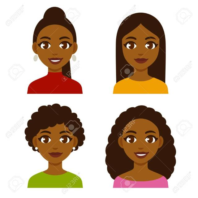 cute cartoon black girls with natural hairstyles and straightened..