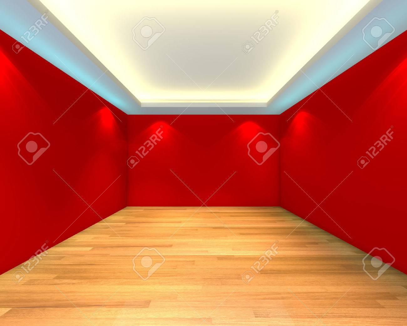 accueil interieur rendu par la chambre vide de couleur rouge et le mur decore avec des planchers en bois