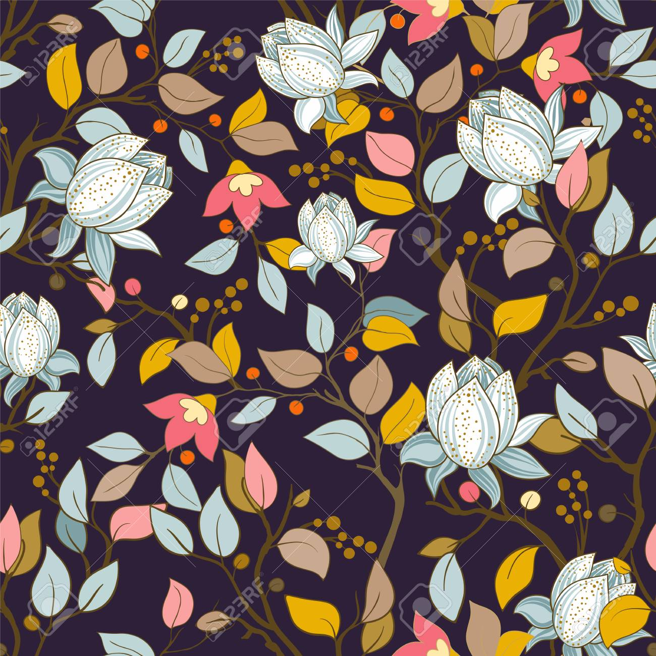 Colorful Floral Pattern Vector Wallpaper With Big Illustration Royalty Free Cliparts Vectors And Stock Illustration Image 101257300