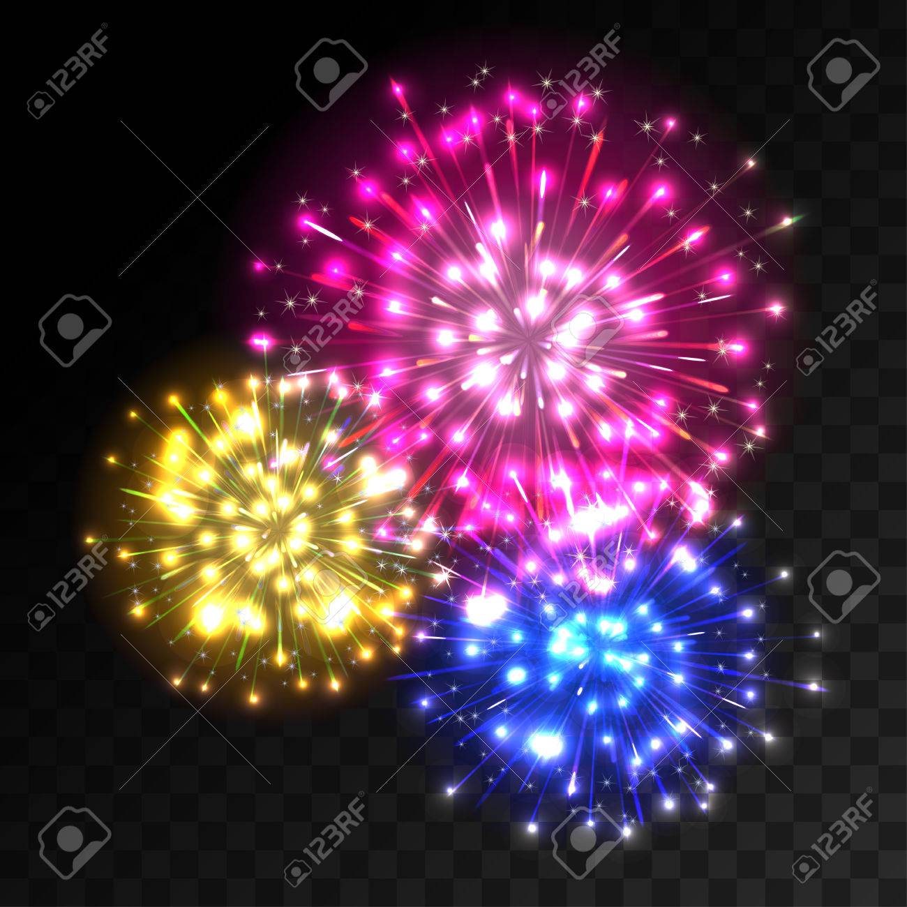 Colorful Fireworks Explosion On Transparent Background  Blue     Colorful fireworks explosion on transparent background  Blue  pink and  yellow lights  New Year