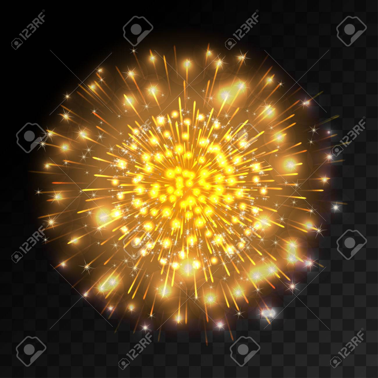 Colorful Firework Explosion On Transparent Background  White     Colorful firework explosion on transparent background  White  gold and  yellow lights  New Year