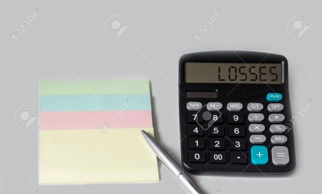 Losses, The Text Is Written On A Calculator And A White Background