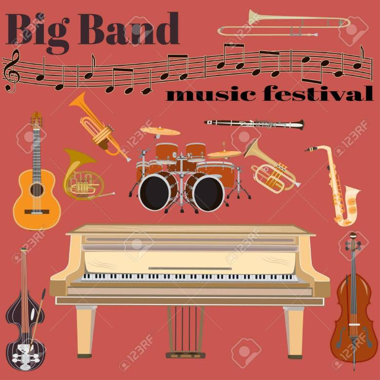 set of jazz band musical instruments. big band music festival