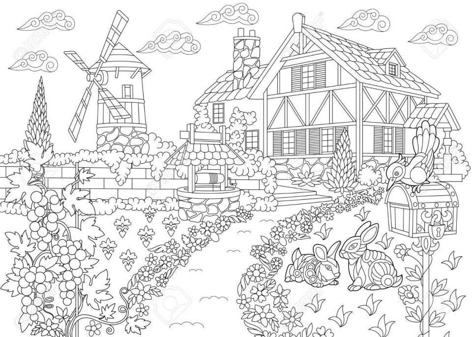 農村風景のぬりえ。農家、風車、井戸、メール ボックス、ウサギ