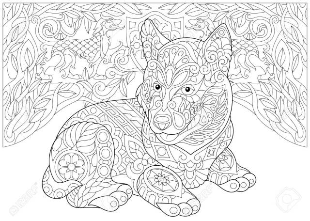 Coloring Page. Adult Coloring Book. Siberian Husky Puppy (Alaskan
