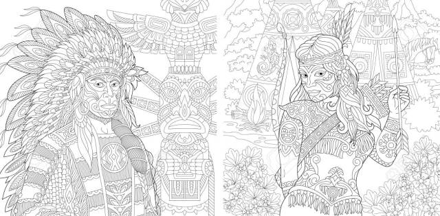Coloring Page. Adult Coloring Book. Native American Indian Chief