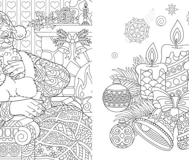 Christmas Colouring Pages Coloring Book For Adults Santa Claus