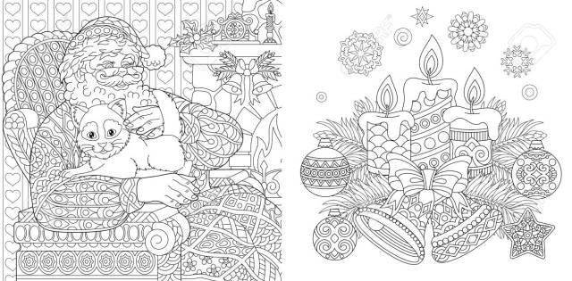 Christmas Colouring Pages. Coloring Book For Adults. Santa Claus